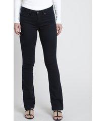 calça de sarja feminina boot cut cintura média preta
