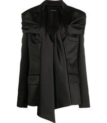 simone rocha draped tie blazer - black