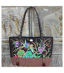 cotton shoulder bag, 'mandarin tropical in brown' (thailand)