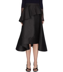 two tiered ruffle front flared cotton midi skirt