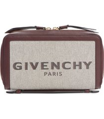 women's givenchy bond canvas & leather travel wallet - burgundy