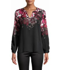 kobi halperin women's bianca floral silk blouse - black multi - size xs