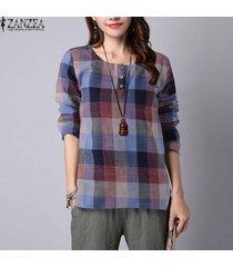 zanzea del tartán de la tela escocesa de las mujeres remata la camisa de cuello redondo de manga larga compruebe botones de la blusa -gris