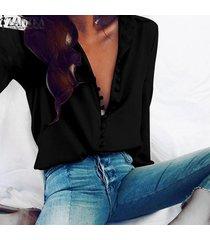 zanzea mujer de manga larga abajo de los botones de corte bajo casual tapas de la camisa más el tamaño de la blusa -negro
