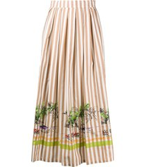 erika cavallini striped patch pocket a-line skirt - brown