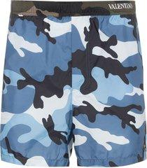 valentino camouflage-print swim shorts - blue