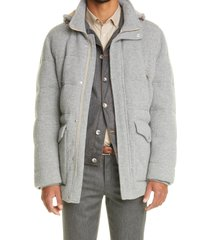 brunello cucinelli rib cashmere down hooded parka, size 42 us in grey at nordstrom