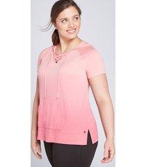 lane bryant women's livi hoodie - lace-up dip-dye 22/24 desert rose