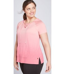 lane bryant women's livi hoodie - lace-up dip-dye 14/16 desert rose