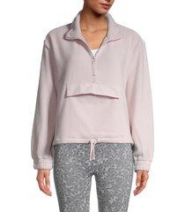 splendid women's cora half-zip fleece pullover - solid blush - size xs