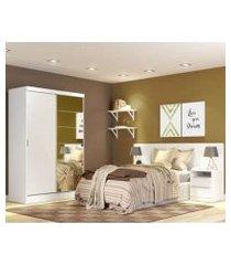quarto completo com guarda roupa luke 2 portas com espelho e cabeceira com 2 mesas de cabeceira madesa branco