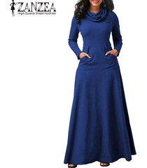 zanzea vestido de noche para fiesta de noche bolsillos de manga larga con lazo vestido largo liso -azul