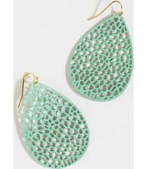 juliana leather teardrop earrings - mint