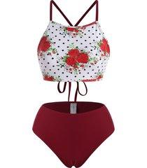 criss cross flower mix and match tankini swimwear