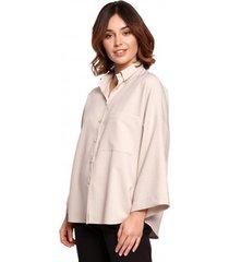 overhemd be b191 oversized shirt met kraag - beige