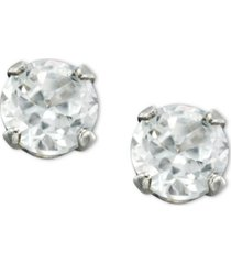 children's 14k gold earrings, cubic zirconia accents