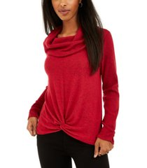 bcx juniors' textured cowlneck twist-front sweater
