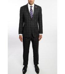 english laundry two button notch lapel slim fit men's charcoal grey plaid suit with flat front pants
