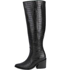 botas de piel con grabado color negro