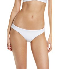 becca fine line hipster bikini bottoms, size large in white at nordstrom