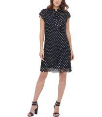 dkny short-sleeve pleated shift dress