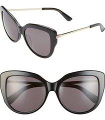 women's diff avery 58mm cat eye sunglasses - black/ grey