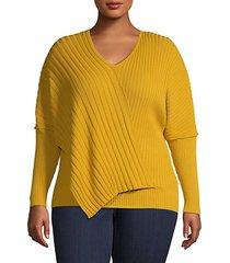 plus ribbed asymmetric sweater