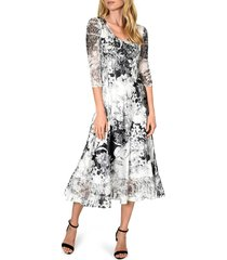 petite women's komarov charmeuse & chiffon a-line dress, size x-large p - black