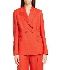 women's partow rose double breasted linen blend jacket