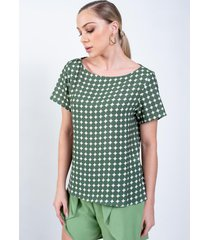 blusa t-shirt richini eternity estampada verde