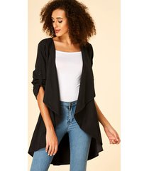 black adjustable sleeves straps open front cardigan