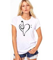 camiseta coolest coraã§ao musical branco - branco - feminino - dafiti