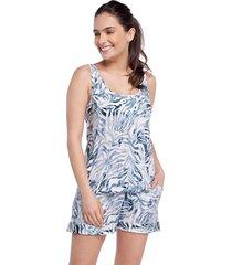 pijama feminino curto regata com bolso zebra azul - azul/branco/zebra - feminino - viscose - dafiti