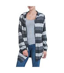alpaca blend hoodie sweater, 'winter shadows' (peru)