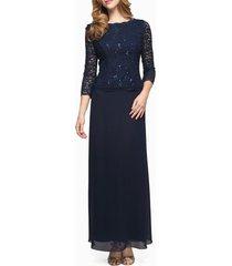 women's alex evenings sequin lace & chiffon gown, size 10 - blue
