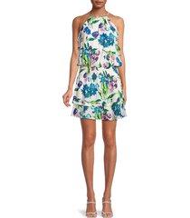 parker women's williame silk-blend blouson dress - pastel swirl - size m