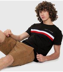 camiseta negro-blanco-rojo tommy hilfiger