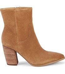 giana stacked-heel suede booties