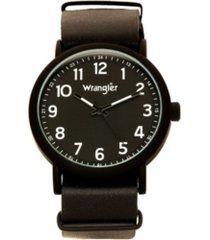 wrangler men's watch, 51mm ip black case with black dial, black arabic numerals with black hands, black nato strap, analog, black second hand