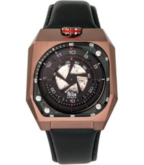 reign asher automatic genuine brown case, black leather watch 47mm