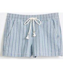 loft cotton linen denim pull on shorts in blue stripe