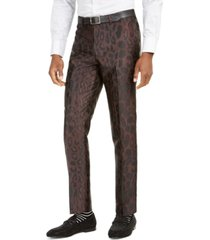 tallia orange men's slim-fit brown leopard-print suit pants