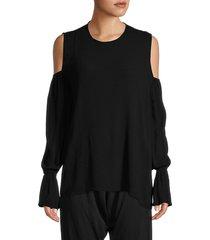 michael lauren women's bell-sleeve cold-shoulder top - black - size xs