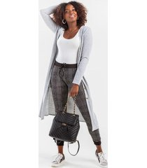 brendie button duster cardigan - heather gray