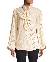 cleone dot tieneck blouse