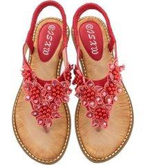 sandalias de verano con flores y punta redonda para mujer, rojo