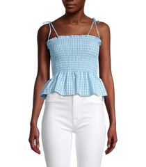 love ady women's smocked checked peplum top - blue - size l