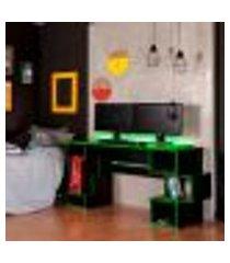 mesa gamer com led blocks preta e verde