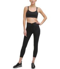 dkny sport women's cropped lace-up leggings