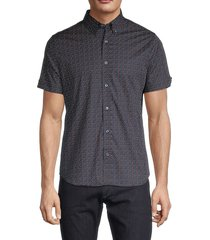 ben sherman men's regular-fit dot-print shirt - dark navy - size xl